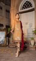 Front: Embroidered Chiffon Hand Embellished (0.8 M) Back: Embroidered Chiffon (0.8 M) Sleeves: Embroidered Chiffon (0.66 M) Dupatta: Embroidered Chiffon (2.5 M) Trouser: Raw silk (2.5 Y) Front...
