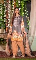 Digital Embroidered Linen Front Digital Printed Linen Back Digital Printed Linen Sleeves Digital Printed Chiffon Dupatta Linen Trouser