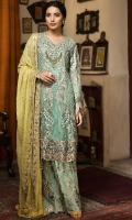 EMBROIDERED CHIFFON FRONT WITH HANDMADE WORK	1  YDS EMBROIDERED GALA WITH H.M WORK	1 PCS EMBROIDERED CHIFFON BACK	1  YDS EMBROIDERED CHIFFON SLEEVES	0.67 YDS EMBROIDERED GHERA LACE	2 YDS EMBROIDERED SLEEVES LACE	1 YDS EMBROIDERED CHIFFON DUPATTA	2.5 YDS EMBROIDERED GRIP SILK TROUSER	2.5 YDS