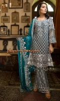 EMBROIDERED CHIFFON FRONT WITH HANDMADE WORK	1 YDS EMBROIDERED CHIFFON BACK	1 YDS EMBROIDERED CHIFFON SLEEVES	0.67 YDS EMBROIDERED TILLA MOTIF FOR SLEEVES	2 PCS EMBROIDERED GHERA LACE	2 YDS EMBROIDERED CHIFFON DUPATTA	2 .5 YDS EMBROIDERED GRIP SILK TROUSER	2 .5 YDS