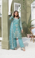 EMBROIDERED WEIGHTLESS CHIFFON FRONT	1 YDS EMBROIDERED WEIGHTLESS CHIFFON BACK	1 YDS EMBROIDERED WEIGHTLESS CHIFFON SLEEVES	0.67 YDS EMBROIDERED NET DUPATTA	2.50 YDS GRIP SILK TROUSER	2.50 YDS EMBROIDERED TROUSER LACE	1 YDS