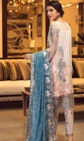 EMBROIDERED CHIFFON FRONT WITH HANDMADE WORK  EMBROIDERED GALA WITH HANDMADE WORK  EMBROIDERED CHIFFON BACK WITH HANDMADE WORK  EMBROIDERED CHIFFON SLEEVES WITH HANDMADE WORK  EMBROIDERED SLEEVES LACE  EMBROIDERED CHIFFON DUPATTA  EMBROIDERED GRIP SILK TROUSER