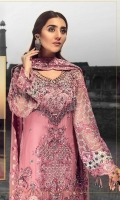 EMBROIDERED CHIFFON FRONT WITH HANDMADE WORK 1 YD EMBROIDERED GALA WITH HANDMADE WORK 1 PC EMBROIDERED CHIFFON BACK 1 YD EMBROIDERED CHIFFON SLEEVES WITH CRYSTAL STONE 0.67 YD EMBROIDERED SLEEVES LACE 1 YD EMBROIDERED CHIFFON DUPATTA 2.5 YDS EMBROIDERED GRIP SILK TROUSER 2.5 YDS