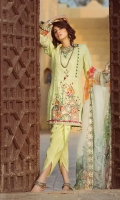lawn embroidered front lawn embroidered back lawn embroidered sleeves Chiffon Printed emboridered Duppata Plain trouser