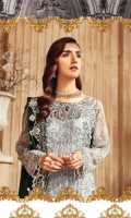 Embroidered Chiffon Shirt Front Embroidered Chiffon Shirt Back Embroidered Chiffon Sleeves Embroidered Chiffon Dupatta Dyed Grip Trouser