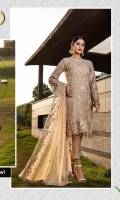 EMBROIDERED NET FRONT      2 YDS EMBROIDERED NET BACK        2 YDS EMBROIDERED NET BODY FRONT WITH H.M WORK EMBROIDERED NET BODY BACK        1 PC EMBROIDERED NET SLEEVES EMBROIDERED SLEEVE LACE EMBROIDERED CHIFFON DUPATTA GRIP SILK TROUSER