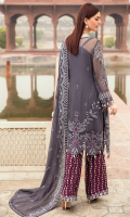 EMBROIDERED CHIFFON FRONT WITH HANDMADE WORK 1YD  EMBROIDERED CHIFFON BACK  1YD EMBROIDERED CHIFFON SLEEVES WITH H.M WORK  0.67 YD  EMBROIDERED GHER LACE FOR FRONT WITH H.M WORK  1YD  EMBROIDERED GHERA LACE FOR BACK  1YD  EMBROIDERED SLEEVE LACE  1YD  EMBROIDERED CHIFFON DUPATTA 2.5 YDS  EMBROIDERED GRIP SILK TROUSER 2.5 YDS