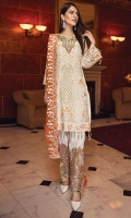 EMBROIDERED CHIFFON FRONT WITH HANDMADE WORK  EMBROIDERED GALA WITH HANDMADE WORK  EMBROIDERED CHIFFON BACK EMBROIDERED CHIFFON SLEEVES  EMBROIDERED GHERA LACE  EMBROIDERED SLEEVE LACE  EMBROIDERED CHIFFON DUPATTA GRIP SILK TROUSER  EMBROIDERED TROUSER LACE