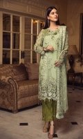 EMBROIDERED CHIFFON FRONT WITH HANDMADE WORK EMBROIDERED CHIFFON BACK EMBROIDERED CHIFFON SLEEVES WITH HANDMADE WORK EMBROIDERED GHERA LACE EMBROIDERED SLEEVES LACE EMBROIDERED CHIFFON DUPATTA EMBROIDERED GRIP SILK TROUSER