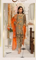 Embroidered Chiffon Front With Handmade Work  Embroidered Chiffon Back  Embroidered Tissue Sleeves Cut Work  Embroidered Ghera Lace  Embroidered Sleeves Lace  Embroidered Chiffon Dupatta  Embroidered Grip Silk Trouser