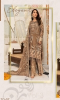 Embroidered Chiffon Front With Handmade Work  Embroidered Chiffon Back  Embroidered Tissue Sleeves With H.m & Cut Work  Embroidered Ghera Lace  Embroidered Sleeve Lace  Embroidered Chiffon Dupatta  Embroidered Grip Silk Trouser