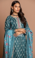 2.5 Meters Printed Cambric Shirt with Embroidered Neckline, 2.5 Meters Printed Cambric Dupatta