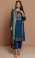 2.50 Meters Dyed Cambric Shirt with Embroidered Neckline, Front & Borders, 2.5 Meters Digital Printed Cambric Dupatta