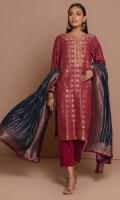 3 Meters Jacquard Shirt, 2.5 Meters Jacquard Dupatta, 2 Meters Dyed Cambric Bottom