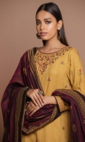 2.85 Meters Satin Jacquard Shirt with Embroidered Neckline, Front, Sleeves & Borders, 2.5 Meters Yarn Dyed Jacquard Dupatta, 2 Meters Dyed Cambric Bottom.