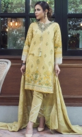 3 Meters Printed Lawn Shirt with Embroidered Neckline  2 Meters Dyed Cambric Bottom (Wider Width)  2.5 Meters Dyed Jacquard Dupatta  Fabric: Printed Lawn & Jacquard