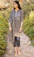 Digital Printed Doria Lawn Shirt, Dyed Cambric Bottom, Digital Printed Voile Slub Dupatta