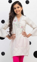 Embroidered Top With Flared Sleeves Stylized With Pleats on The Front, Fabric: Dobby