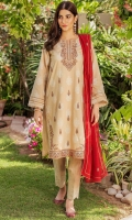 *2.5 Yards Embroidered Khaddi Net Dupatta *Embroidery on Pearl Printed Cambric Front *Pearl Printed Cambric Sleeve *Pearl Printed Cambric Back