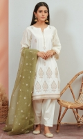 *2.5 Yards Embroidered Checkered Organza Dupatta *Embroidered Cambric Front *Embroidered Sleeves border *Plain Cambric Back *Embroidered Borders for Shirt *2 Meter Cambric Bottom
