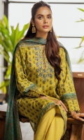2.5 Meters Printed Lawn Shirt with Embroidered Neckline, 2.5 Meters Digital Printed Chiffon Dupatta, 2 Meters Dyed Cambric Bottom