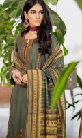2.85 Meters Satin Jacquard Shirt with Embroidered Neckline & Borders, 2.5 Meters Yarn Dyed Jacquard Dupatta, 2 Meters Dyed Cambric Bottom