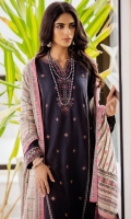 2.85 Meters Satin Jacquard Shirt with Embroidered Neckline, Front & Borders, 2.5 Meters Yarn Dyed Jacquard Dupatta, 2 Meters Dyed Cambric Bottom.
