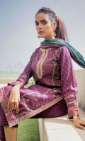 2.5 Meters Printed Lawn Shirt with Embroidered Neckline, 2.5 Meters Printed Cotton Net Dupatta, 2 Meters Dyed Cambric Bottom