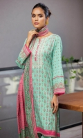 2.5 Meters Printed Lawn Shirt with Embroidered Neckline, 2.5 Meters Printed Lawn Dupatta