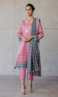 2.5 Meters Printed Doria Lawn Shirt with Embroidered Neckline, 2.5 Meters Printed Voile Slub Dupatta, 2 Meters Dyed Cambric Bottom