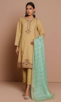 2.45 Meters Dyed Textured Slub Lawn Shirt with Embroidered Neckline, Front & Borders, 2.5 Meters Printed Voile Slub Dupatta, 2 Meters Dyed Cambric Bottom
