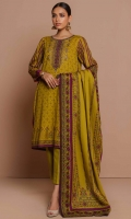 2.5 Meters Printed Lawn Shirt with Embroidered Neckline, 2.5 Meters Printed Lawn Dupatta, 2 Meters Dyed Cambric Bottom