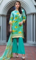 2.5 Meters Printed Lawn Shirt with Embroidered Neckline (Wider Width), 2.5 Meters Dyed Dobby Bottom, 2.5 Meters Digital Printed Chiffon Dupatta, Fabric: Printed Lawn & Digital Printed Chiffon