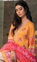 3 Meters Printed Lawn Shirt with Embroidered Front & Lace, 2.5 Meters Dyed Dobby Bottom, 2.5 Meters Printed Lawn Dupatta, Fabric: Printed Lawn