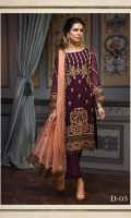 PLUMP ALL OVER EMBROIDERED LUXURY CHIFFON ENSEMBLE PAIRED WITH MATCHING DYED TROUSERS CONTRASTING EMBROIDERED DUPATTA