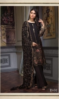 JET BLACK ALL OVER EMBROIDERED LUXURY CHIFFON ENSEMBLE PAIRED WITH DYED TROUSERS SHEER EMBROIDERED DUPATTA