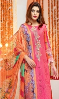 """Dyed Schiffli Embroidered Lawn Shirt Front 1.20 yards Digital Printed Lawn Shirt Back & Sleeve 1.90 yards Digital Printed Bamber Chiffon Dupatta 2.75 yards Dyed Cambric Trouser 2.65 yards Embroidered Border on Tissue – 30"""" 01 piece Embroidered Neck Motif on Tissue 01 piece"""