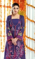 """Digital Printed Sequins Embroidered Dobby Lawn Shirt Front 1.20 yards Digital Printed Dobby Lawn Shirt Back & Sleeve 1.90 yards Jacquard Dori Dupatta 2.75 yards Dyed Cambric Trouser 2.65 yards Embroidered Border on Tissue – 30"""" 01 piece Embroidered Dupatta Motif on Tissue 01 pair"""