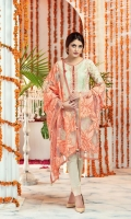 """Digital Printed Embroidered Lawn Shirt Front 1.20 yards Digital Printed Lawn Shirt Back & Sleeve 1.90 yards Emroidered Applique Net Dupatta 2.75 yards Dyed Cambric Trouser 2.65 yards Embroidered Neck Lace on Tissue – 40"""" 01 piece"""