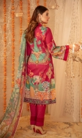 """Digital Printed Sequins Embroidered Lawn Shirt Front 1.20 yards Digital Printed Lawn Shirt Back & Sleeve 1.90 yards Digital Printed Bamber Chiffon Dupatta 2.75 yards Dyed Cambric Trouser 2.65 yards Embroidered Border on Tissue – 30"""" 01 piece"""