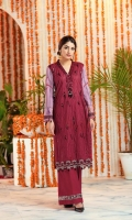 """Digital Printed Sequins Embroidered Lawn Shirt Front 1.20 yards Digital Printed Lawn Shirt Back & Sleeve 1.90 yards Jacquard Organza Dupatta 2.75 yards Dyed Cambric Trouser 2.65 yards Embroidered Border on Tissue – 30"""" 01 piece Embroidered Border Lace on Tissue – 30"""" 01 piece Embroidered Neck Lace on Tissue – 40"""" 01 piece"""