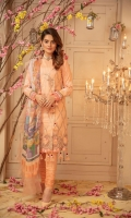 """Dyed Embroidered with Applique Lawn Shirt Front 1.20 yards Digital Printed Lawn Shirt Back & Sleeve 1.90 yards Digital Printed Bamber Chiffon Dupatta 2.75 yards Dyed Cambric Trouser 2.65 yards Embroidered Border on Tissue – 30"""" 01 piece Embroidered Neck Lace on Tissue – 40"""" 01 piece"""
