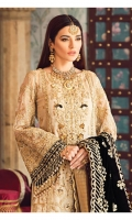 Hand-embellished, embroidered & sequined gold zari net center panel Embroidered & sequined gold zari net side panels Embroidered & sequined gold zari net sleeves Embroidered & sequined gold zari net back Embroidered & sequined black velvet shawl Adda-worked, embroidered & sequined gold zari neckline patch Embroidered & sequined gold zari net border for front Embroidered & sequined gold zari net border for back Embroidered & sequined gold zari net border for sleeves Dyed gold jaamawaar trouser Dyed inner shirt lining