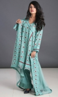 Embroidered Qasbi Net Stitched 3 Piece Suit