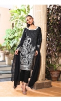 1.75 Mtr Embroidered Front + Sleeves 1.25 Mtr Back 2.5 Mtr Shifli Dupatta 2.5 Mtr Trouser