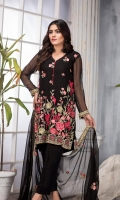 03 pcs unstitched embroidered Chiffon Embroidered Chiffon Shirt Embroidered Chiffon Dupatta Raw Silk Trouser