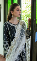 Shirt SEQUINS EMBROIDERED FRONT FOAM PRINTED BACK AND SLEEVES EMBROIDERED NECKLINE EMBROIDERED DAMAN BORDER  Dupatta LUXURIOUS EMBROIDERED NET DUPATTA  Trouser CAMBRIC TROUSER