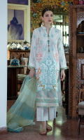 Shirt LACQUER PRINTED SCHIFFLI EMBROIDERED FRONT EMBROIDERED BACK AND SLEEVES BLOCK PRINTED DAMAN BORDER   Dupatta MULTI COLORED ZARI ORGANZA DUPATTA  Trouser LACQUER PRINTED CAMBRIC TROUSER