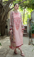 Shirt FULL EMBROIDERED FRONT DIGITAL PRINTED BACK AND SLEEVES EMBROIDERED DAMAN BORDER  Dupatta DIGITAL PRINTED CHIFFON DUPATTA  Trouser CAMBRIC TROUSER