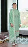 Shirt FULL EMBROIDERED FRONT EMBROIDERED BACK AND SLEEVES EMBROIDERED DAMAN BORDER  Dupatta LUXURIOUS EMBROIDERED NET DUPATTA  Trouser LACQUER PRINTED CAMBRIC TROUSER